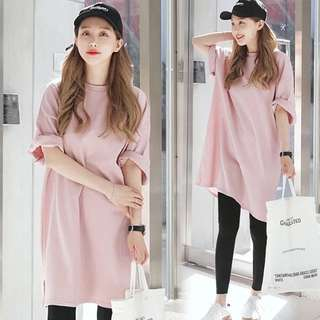 2018 spring and summer long section T-shirt skirt split female Korean version of the simple casual shirt