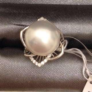 全新18K 12mm 天然鑽白南洋白珍珠戒指