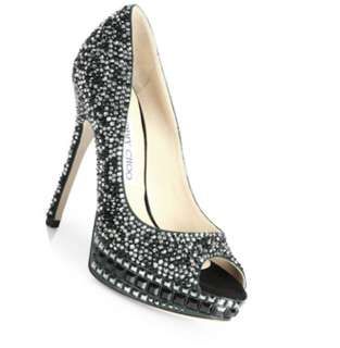 Jimmy Choo Klara Swavorski Crystal- Covered peep toe pump