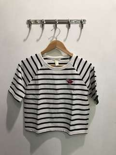 Forever 21 - Lips Stripes Crop Top