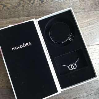 Pandora bracelet and necklace set