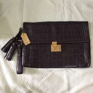 COACH CROCODILE EMBOSSED LARGE CLUTCH BAG