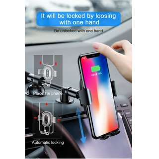 Baseus Heukji Series Gravity Qi Wireless Charger Car Mount Holder For iPhone X Samsung S8 S9