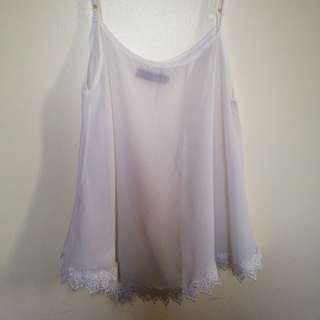 Zalora White Embroidered Top