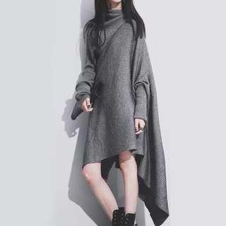 (現貨黑色特價)超長袖子不對稱邊設計針織毛衣