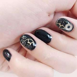 Box 3D Tips Nail Art Watch Parts Skeleton Punk Stud Retro Rock Gold Steam Machine Metal Slice Gear Foil Decoration Tool Manicure