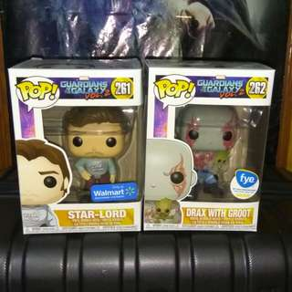 (ON HAND) Star-Lord & Drax with Groot Guardians of the Galaxy Marvel Funko Pop Bundle