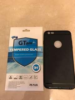 Iphone 6p 黑色手機殼+玻璃芒貼