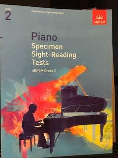 ABRSM Piano Grade 2 Sight Reading book