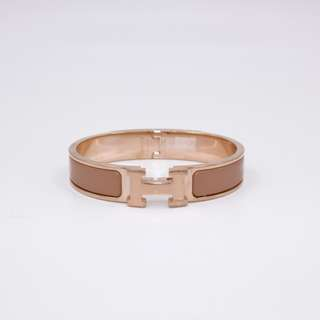 (NEW)Hermes H700001F0 CLIC CLAC H NARROW 0.5INCH WIDE PM ENAMEL PM BRACELET RGHW, ROSE MAKE UP 全新 手鈪 手鐲 金扣