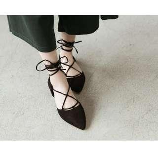 出清!芭蕾舞鞋優雅綁帶尖頭包鞋
