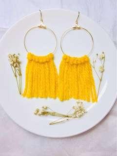 Handmade mustard thread earring