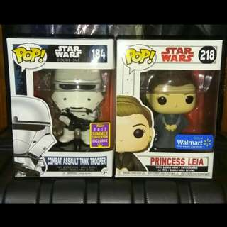 (ON HAND) Combat Assault Tank Trooper & Princess Leia Star Wars Funko Pop Bundle