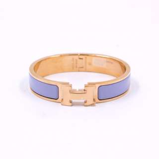 (NEW)Hermes H700001FO CLIC CLAC H 0.5IN WIDE ENAMEL PM BRACELET RGHW, PARME 全新 手鐲 手鈪 紫色 金扣