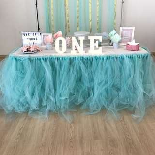 Tutu table skirting in mint/Tiffany blue