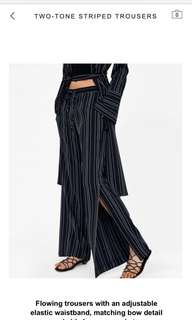 Zara Stripped Trouser with Wide Split