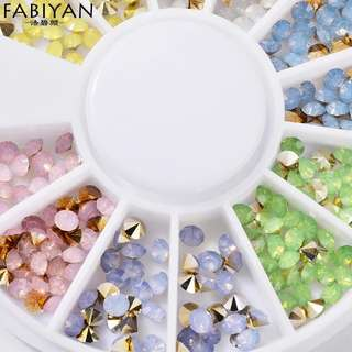 Nail Art Wheel Colorful Metal Protein Cone Decoration 3D Tips Stud Drill Sharp Acrylic Crystal Rhinestones Accessories Manicure