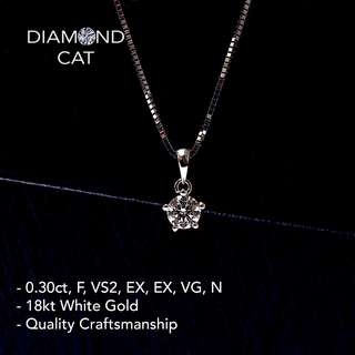 0.30ct Diamond Pendant in 5 Prongs Set - GIA Certified Diamond