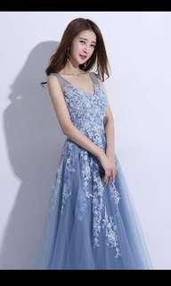 Wedding Evening Gown (Flowy Blue Floral)