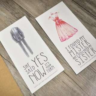 Invitation card for bridesmaid wedding groomsmen