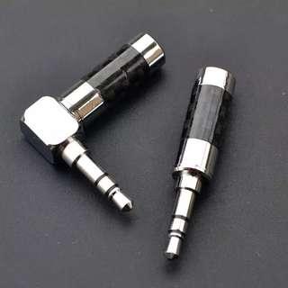 純銅鍍銠碳纖外殼 3.5mm 插頭 DIY 升級 耳筒 頂級 首選