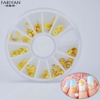 3D Glitter Metal Gold Ocean Starfish Shell Sticker Studs Wheel DIY UV Gel Nail Art Polish Tips Jewelry Decoration Manicure Tools