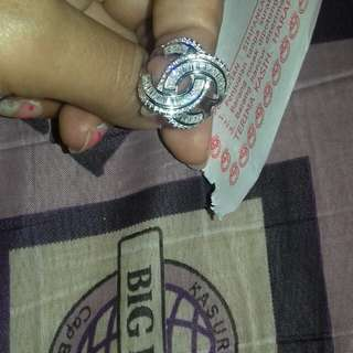 Cincin silver emas putih canel