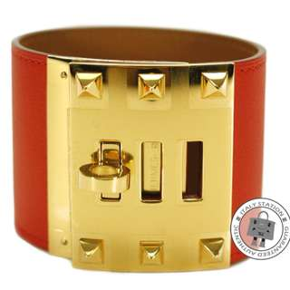 (NEW)Hermes EXTREME SWIFT S BRACELET GHW, CAPUCINE / CC9T 全新 手鐲 手鈪 手帶 橙紅色 金扣