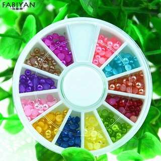 Hot Sale 12 Colors Acrylic Pearl Beads Rhinestone Glitter Stickers 3d Nail Art Tips Decoration Wheel Manicure Jewelry DIY Tools