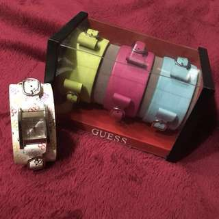 GUESS Interchangeable Leather Straps Watch Set
