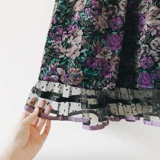 裙 - 古著 紫色 花朵 中長裙 skirt 日本標籤 圓點 蕾絲 點點 黑色 紫色