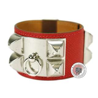 (NEW)Hermes COLLIER DE CHIEN CUFF CDC EPSOM SMALL BRACELET PHW, CASAQUE / CKQ5  全新 手鐲 手鈪 手帶 紅色 金扣