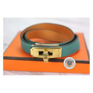 (NEW)Hermes KELLY DOUBLE TOUR SWIFT MEDIUM BRACELET GHW, MALACHITE / CCZ6 全新 手鐲 手鈪 藍綠色 金扣