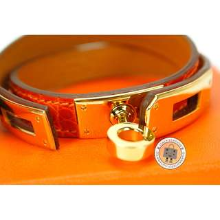(NEW)Hermes KELLY DOUBLE TOUR SHINY CROCODILE SMALL BRACELET GHW, ORANGE 全新 手鐲 手鈪 手帶 橙紅色
