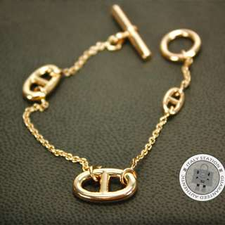 (NEW)Hermes 107570B ST FARANDOLE METAL PM BRACELET GHW, 18K GOLD 全新 手鏈 金色