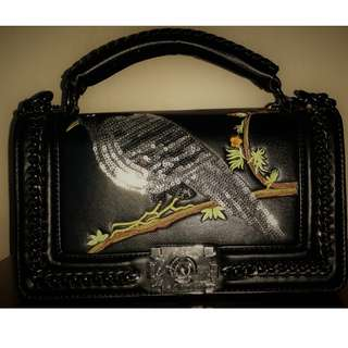 👜Full Leather Embroidered Bag with Braided Flaps