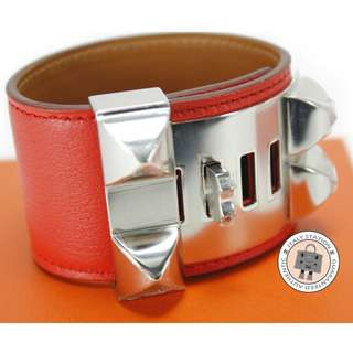 (NEW)Hermes COLLIER DE CHIEN CUFF CDC SWIFT SMALL BRACELET PHW, CAPUCINE / CK9T 全新 手鐲 手鈪 橙紅色 銀扣