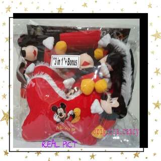Set 3 in 1 + Bonus Bantal Sandaran Kepala utk Jok Mobil ( Depan ) Fancy Full Boneka Mickey Mouse - Red
