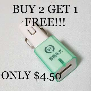 BUY 2 GET 1 FREE!!! Brand New Fast Charging USB Car Charger Adapter.