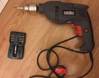 Ozito drill + drill bits