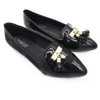 Simple Jamie Black Flats By Buckle Up INSTOCK 34-37