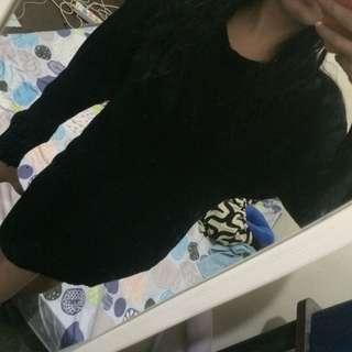 Black Knitted Long-sleeved Dress