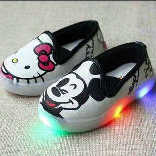 HELLO KITTY AND MICKEY MOUSE Led RUBBER SHOES
