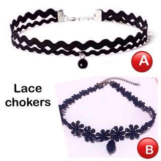 Lace  Chokers [ uncle.anthony uncle anthony uac 2bump] Follow the links given for more pictures/details -  For A, go here: 👉 http://carousell.com/p/148690182 For B, go here: 👉 http://carousell.com/p/108610859