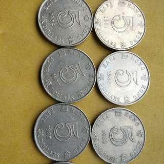 香港女皇頭圓形伍圓全套十只,有幾只近未使用