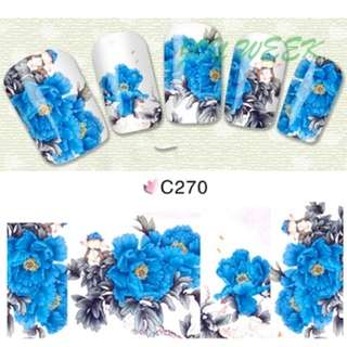 Water sticker for nails art all decorations sliders blue chinese peony nail design decals manicure lacquer accessoires polish 7