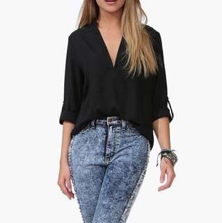 PENDING Instock! - Black Chiffon V Neck Front Pleated 3/4 Sleeve Blouse / Top