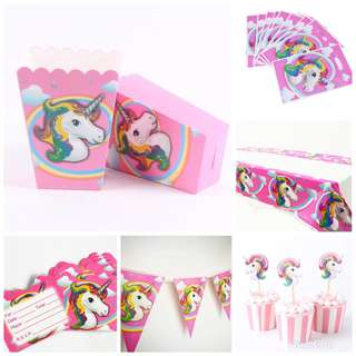[NEW] Unicorn Theme Party Bags Bunters Flags Tableware Invite Cards