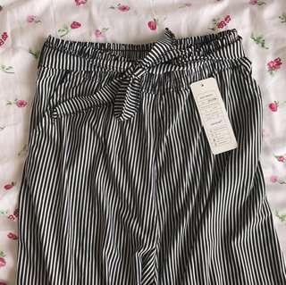 bnwt self-tie striped culottes