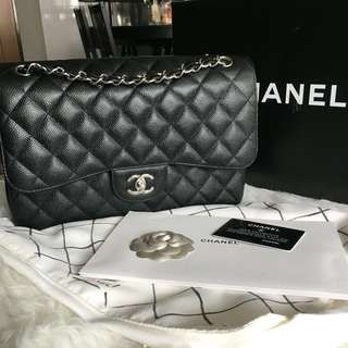 💕Save 3k!💕 Local Full Set! Excellent Condition Chanel Jumbo Double Flap Bag In Black Caviar and SHW